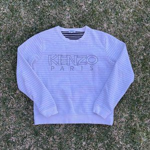 Kenzo Womens Striped Embroidered Crewneck Size L